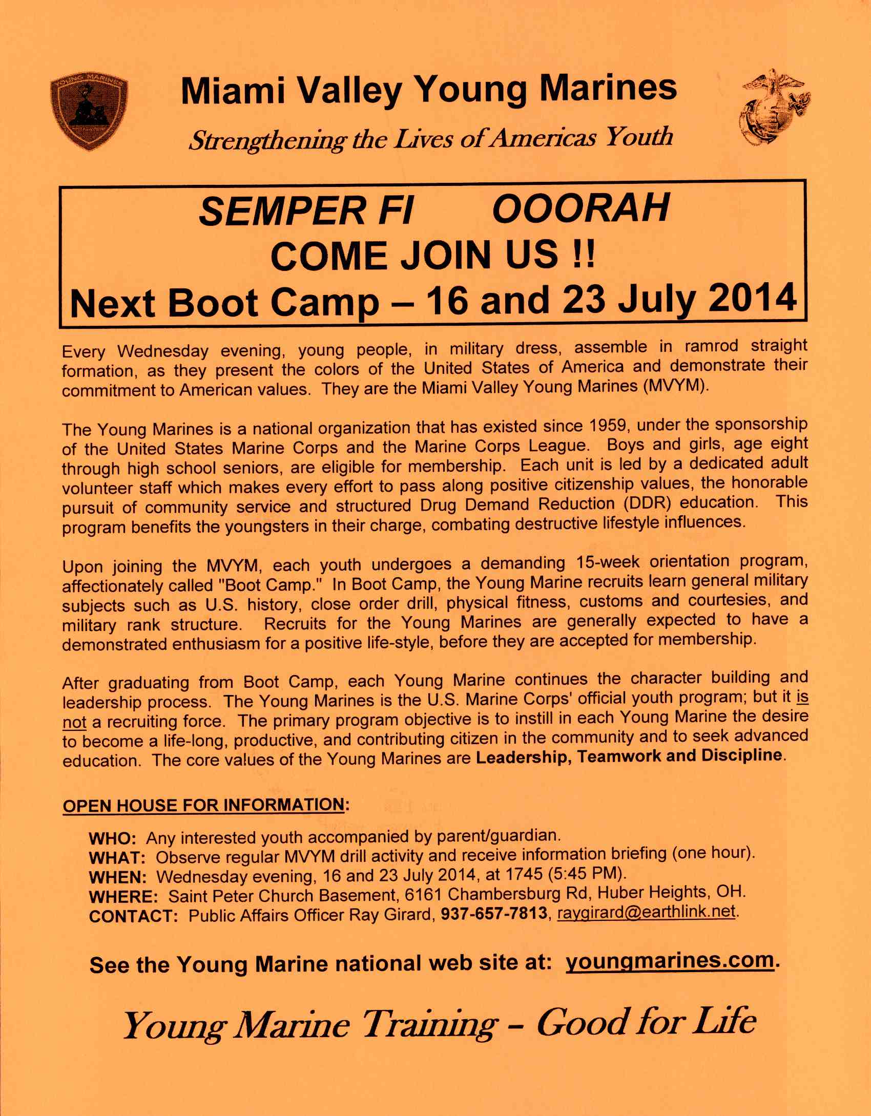 Young Marine Boot Camp Flier
