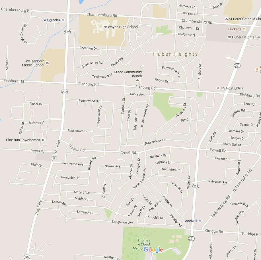 City Map from Google Nov 2015 interior roads
