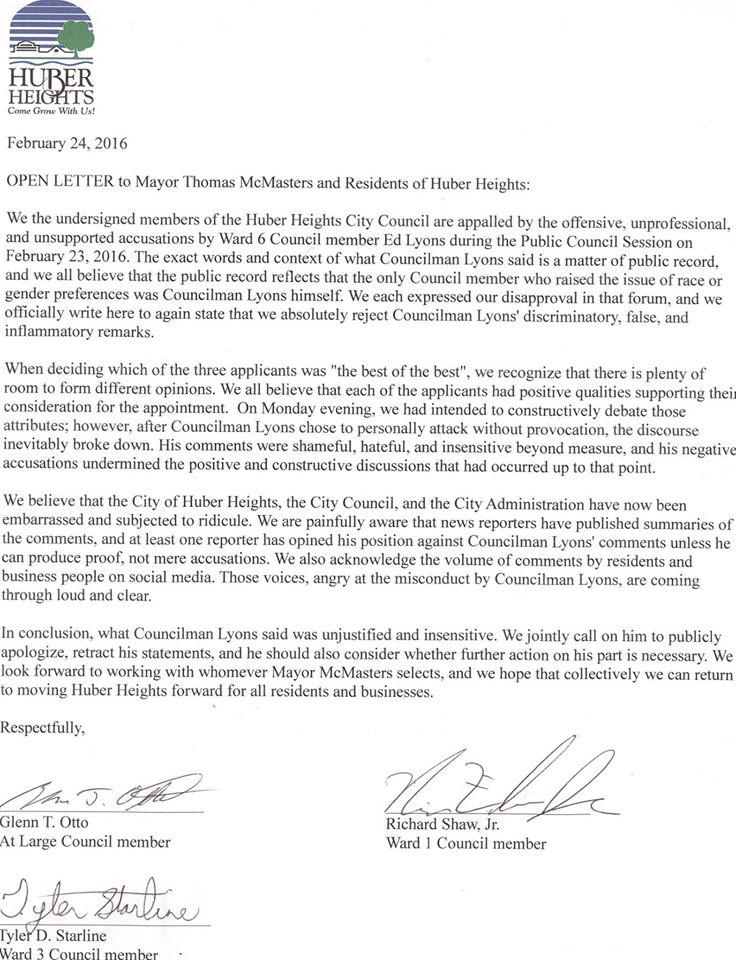Open letter from Vice Mayor Starline and Council Members Shaw and Otto