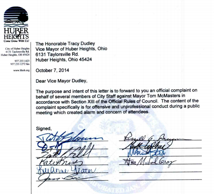 Staff Complaint against the Mayor  Oct 2009