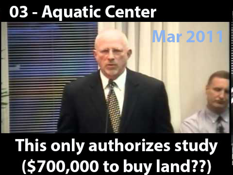 When city council revealed on Mar 14th 2011 to the residents of Huber Heights their plan for a recreational facility that would include an aquatic center, item G on the agenda was the authorization for council to spend $700,000 in order to get the project started. During the discussion of that agenda item Mr. Steve Stanley tells us that the council is only looking to start a feasibility study and tries to give the impression that the organizers are willing to take community input.<br />\n<br />\nWatch entire video from the City's Website  Mar 14, 2011</a>