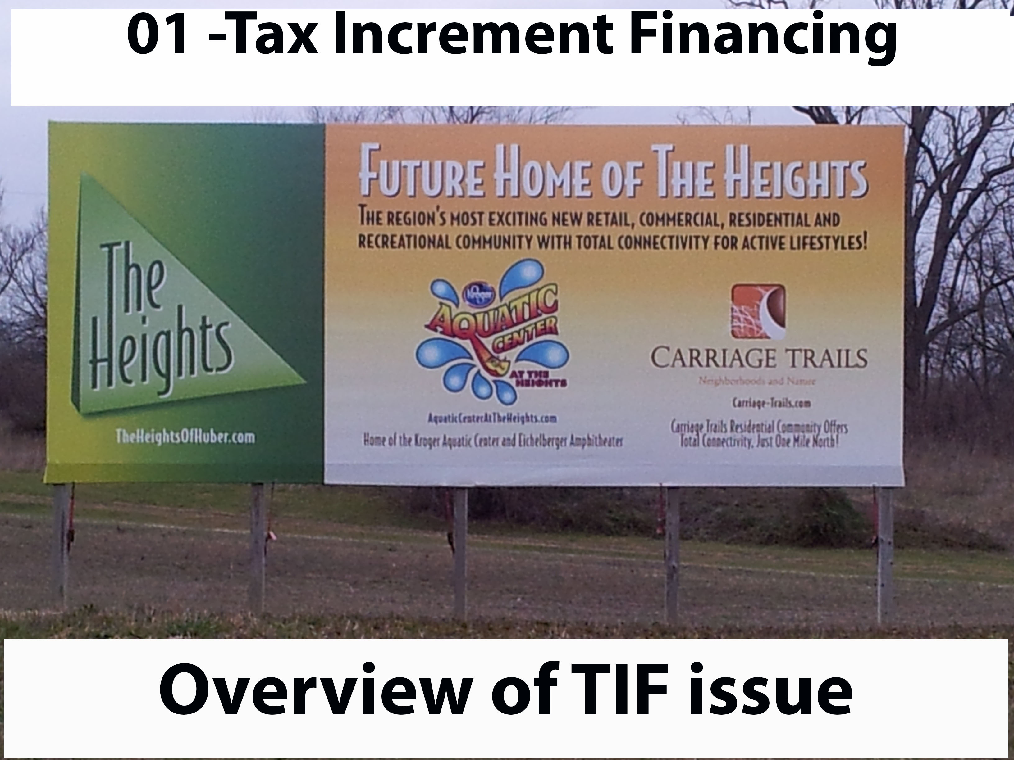 "Tax Increment Financing (TIF)<br />\n <br />\nThe City of Huber Heights has a number of TIF districts.  The basic idea of a TIF is to re-categorize money from property tax into ""special assessment"".  This re-categorization also changes the use of the money.  TIF is a complex issue which I have yet to find a good source to give us an accurate and complete description of how it works. <br />\n <br />\nThe follow on articles will present some of the references I could find about TIF regulations and presentations made to council.  At the end of this article you can find a list of website references.<br />\n <br />\nI planned to create this issue section ever since I started the website.  I had a conversation with a couple of school board members after the Dec 20th, 2012 school board meeting and came away with the impression they didn't have any better understanding of TIF districts than I did.  As a result I figured it was time for me to put together what I know.<br />\n <br />\nHere is an open items I hope get answered as part of the development of this issue.<br />\n \n<ul>\n	<li>When the public approves a new property tax such as the one we approved for the libraries how are the collections associated with this levy parceled out to government agencies?  We know that one of the reasons the city creates TIF districts is because it allows them to funnel some of the money voters approved for one purpose into TIF funds but I'm not sure about the specific details.</li>\n</ul>\nHere is a question that I wondered about when I started this article.  I have found the Ohio Code (<a href=""http://codes.ohio.gov/orc/5709.82"" target=""_blank"">5709.82</a>) that addressess it.\n\n<ul>\n	<li>This evening I just read the Ohio State paper on TIF districts.  In that paper it tells us that for municipalities collecting an income tax the city must execute a revenue-sharing agreement ordinance with affected school districts in cases where the new investment results in annual payroll for new employees of $1,000,000 or more within six months of adopting the ordinance.  I wonder if the city and school have such a revenue sharing agreement. -  <span style=""color: rgb(128, 0, 128);"">ORC 5709.82 tells us in sectiion (C) that if the city and the school made a revenue sharing agreement in section (B) then the income tax revenue sharing does not apply. </span></li>\n</ul>\n <br />\nOf course the first paragraph of this article is my characterization of TIF.  Here is a <a href=""http://development.ohio.gov/files/bs/TIF_IncentiveDistrictsSummary.pdf"" target=""_blank"">friendlier characterization</a> as found on the State of Ohio's website:<br />\n <br />\n""Tax Increment Financing (TIF) is an economic development mechanism available to local governments in Ohio to finance public infrastructure improvements and, in certain circumstances, residential rehabilitation. A TIF works by locking in the taxable worth of real property at the value it holds at the time the authorizing legislation was approved. Payments derived from the increased assessed value of any improvement to real property beyond that amount are directed towards a separate fund to finance the construction of public infrastructure defined within the TIF legislation.""<br />\n <br />\nWeb References for TIF Financing:<br />\n <br />\n<a href=""http://development.ohio.gov/bs/bs_tif.htm"" target=""_blank"">State of Ohio Development Services Agency, information on Tax Increment Financing</a>.  This site contains an overview definition and contains links to white papers on <a href=""http://development.ohio.gov/files/bs/TIF_Summary.pdf"" target=""_blank"">general purpose/parcel TIFs</a> and <a href=""http://development.ohio.gov/files/bs/TIF_IncentiveDistrictsSummary.pdf"" target=""_blank"">Incentive distrct TIFs</a>.  It also has a link so you can find <a href=""http://development.ohio.gov/OTEISearch/tif/default.aspx"" target=""_blank"">existing TIF projects</a><br />\n <br />\n <br />\n<a href=""http://codes.ohio.gov/orc/5709.40"" target=""_blank"">Ohio Revised Code 5709.40</a>.  When the City of Huber Heights sponsored TIF legislation on Dec 20, 2012 they reference ORC 5709.40 through 5709.43. <br />\n<br />\nOhio Revised Code <a href=""http://codes.ohio.gov/orc/5709.82"" target=""_blank"">5709.82 </a>Compensating school district for revenues lost due to tax exemptions <br />\n <br />\nOhio State University Extension Fact Sheet - <a href=""http://ohioline.osu.edu/cd-fact/1559.html"" target=""_blank"">Ohio's Tax Increment Financing Program</a><br />\n <br />\n <br />\n<a href=""http://agendaquick.hhoh.org/docs/2011/PC/20110412_320/320_4.12.11.doc"" target=""_blank"">Huber Heights Planning Commission April 12, 2011 Minutes</a>.  Starting the last paragraph of page 4, Steve Stanley explains TIF as it relates to the Huber Heights Recreational facility planning.    <br />\n<br />\n"