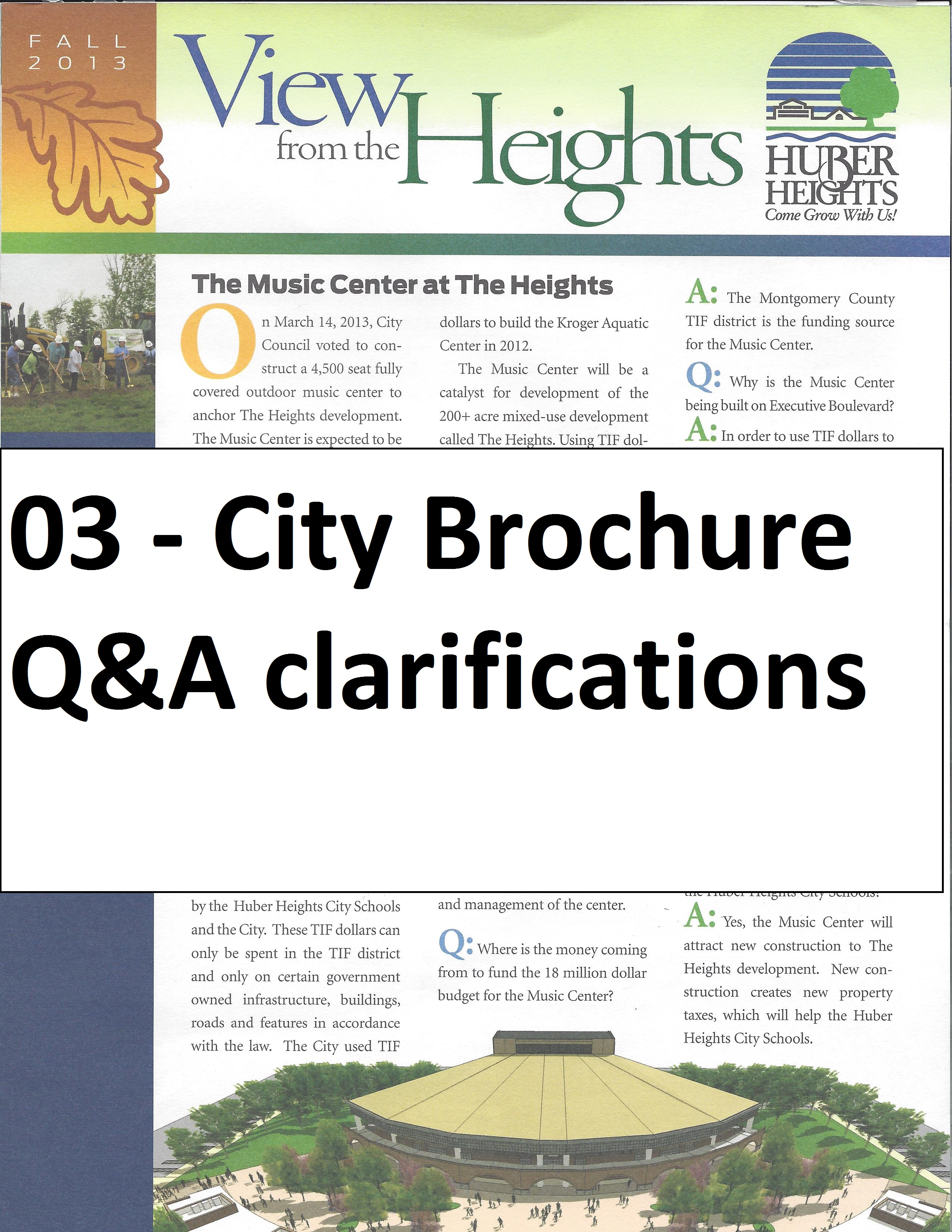 City Flier and Clarification to Q & A